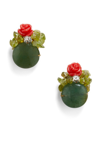 Garden Artistry Earrings - Green, Pink, Flower, Rhinestones