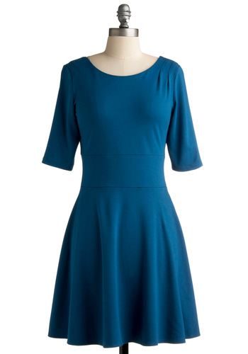Deep Blue Scene Dress - Blue, Solid, Pleats, A-line, 3/4 Sleeve, Fall, Casual, Mid-length, Minimal, Tis the Season Sale, Variation
