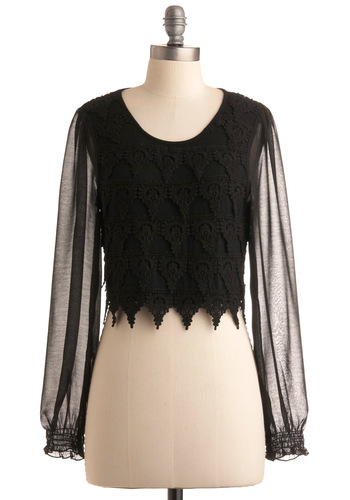 Midnight Muse Top - Black, Solid, Lace, Scallops, Party, Casual, Long Sleeve, Fall, Winter, Short, Vintage Inspired, 20s, 30s