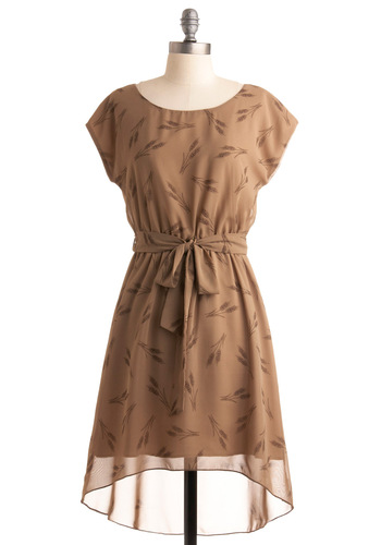 Wheat Field Day Dress - Tan, Brown, Print, Casual, A-line, Short Sleeves, Fall, Mid-length