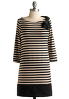Take a Trip Tunic - Black, Stripes, Bows, Casual, 3/4 Sleeve, Fall, White, Long, Boat, Travel