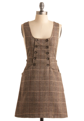 Aced Midterms Jumper by Miss Patina - Brown, Plaid, Buttons, Casual, A-line, Sleeveless, Tan / Cream, Pockets, Fall, Winter, Long, International Designer