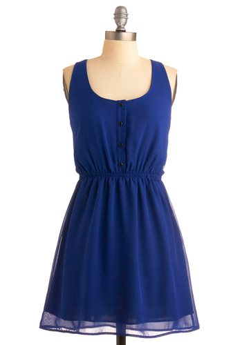 Mazarine in the Mezzanine Dress - Blue, Solid, Buttons, Casual, A-line, Racerback, Spring, Summer, Fall, Mid-length