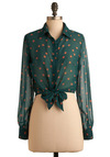 Gumball About You Top - Green, Orange, Polka Dots, Casual, Long Sleeve, Fall, Winter, 30s, 40s, 50s, Short, Vintage Inspired, Press Placement