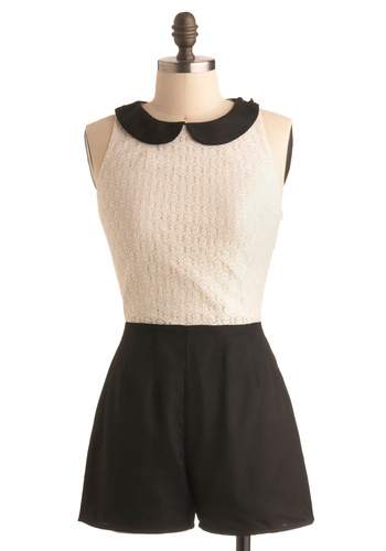 To a Tea Romper - White, Lace, Peter Pan Collar, Party, Casual, Black, Solid, Sleeveless, Spring, Summer, Fall, Menswear Inspired, Long