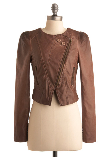 Michigan Avenue Jacket - Brown, Solid, Long Sleeve, Exposed zipper, Fall, 2, Short