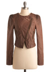 Michigan Avenue Jacket - Brown, Solid, Long Sleeve, Exposed zipper, Fall, Short, 2