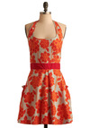 Haute Hibiscus Apron - Orange, Floral, Blue, Pleats, Pockets, Ruffles