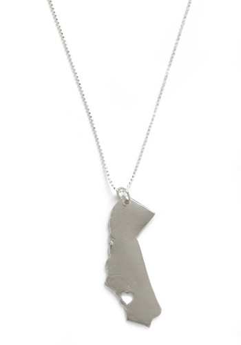 Land That I Love Necklace in California - Silver, Cutout