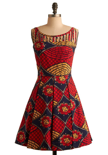 Primary Predilection Dress - Red, Purple, Tan / Cream, Floral, Cutout, A-line, Sleeveless, Yellow, Print, Pleats, Party, Spring, Summer, Fall, Mid-length