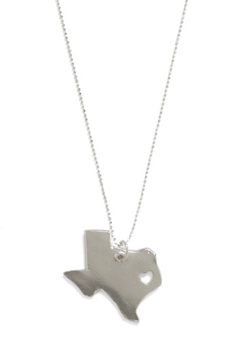 Land That I Love Necklace in Texas - Silver, Solid, Cutout