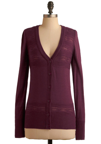Sorry For the De-layer Cardigan - Purple, Solid, Long Sleeve, Knitted, Work, Casual, Fall, Show On Featured Sale, Mid-length