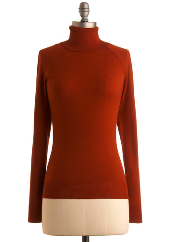 Jet Setter Sweater in Rust - Solid, Long Sleeve, Orange, Knitted, Work, Casual, Fall, Winter, Mid-length