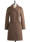 Met Your Match Coat by Miss Patina - Brown, Herringbone, Long Sleeve, Fall, Winter, Long