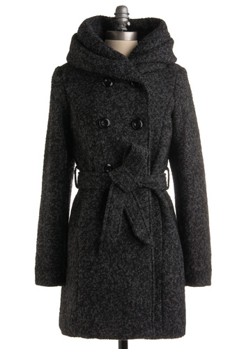 Exploring the Neighborhood Coat by Steve Madden - Grey, Solid, Long Sleeve, Casual, Fall, Winter, Long, 3