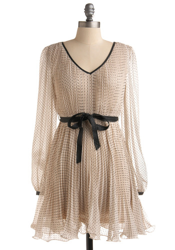 Southern Bell Dress - Black, Polka Dots, A-line, Long Sleeve, Cream, Bows, Pleats, Party, Short