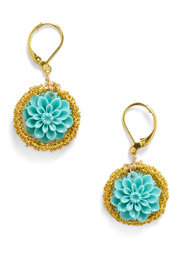 Cultivating Camellias Earrings - Blue, Gold, Flower