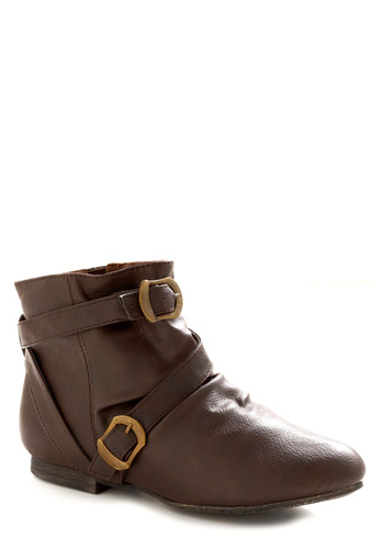 Crossing Trails Bootie - Brown, Solid, Buckles, Casual, Fall, Winter