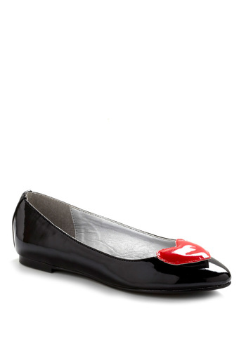 Heart of the Matter Flat in Black - Black, Red, Party, Casual