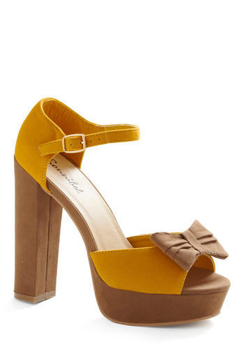 No Cutting Corn-ers Heel - Yellow, Tan, Bows, Solid, Party, Casual, Spring, Summer, Fall, 30s, 40s, 50s, 60s, Rockabilly, Pinup, Vintage Inspired