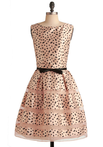 Rosé Bubbly Dress - Pink, Black, Polka Dots, A-line, Sleeveless, Bows, Prom, Mid-length, 50s, Fit & Flare, Cocktail, Formal