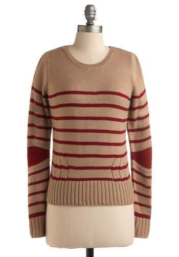 Quiet Venture Sweater - Stripes, Long Sleeve, Tan, Red, Knitted, Casual, Fall, Winter, Mid-length