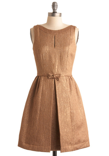 Walk Away with Bronze Dress - Solid, Bows, Pleats, A-line, Sleeveless, Mid-length, Bronze, Formal, Wedding, Fall