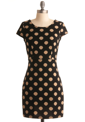 Champagne Bar Dress - Black, Tan / Cream, Polka Dots, Shift, Short Sleeves, Fall, Party, Short