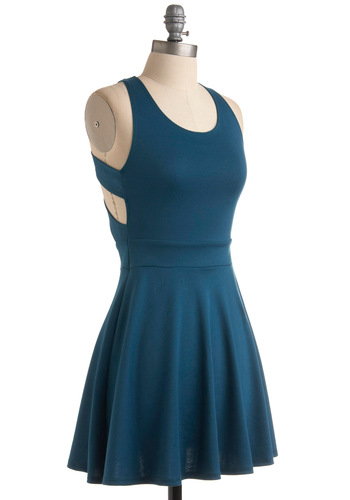 Fox-Trot Lessons Dress - Blue, Solid, A-line, Sleeveless, Backless, Party, Mini, Summer, Short