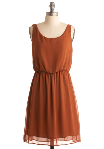 Harvest Season Dress - Orange, Solid, A-line, Casual, Sleeveless, Mid-length