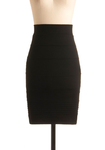 Promptness is Posh Skirt in Black - Black, Solid, Party, Mid-length, Pencil, High Waist, Variation
