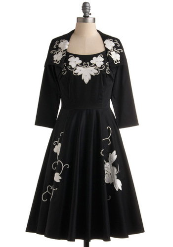 Time After Timeless Dress - Black, White, Floral, Embroidery, A-line, Pockets, Rhinestones, Tank top (2 thick straps), Long, Party, 50s, Winter, Formal, Prom