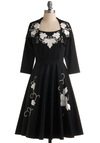 Time After Timeless Dress - Black, White, Floral, Embroidery, A-line, Pockets, Rhinestones, Tank top (2 thick straps), Long, Party, 50s, Winter, Special Occasion, Prom