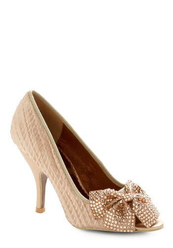 Little Bow Peep Toe Heel in Champagne by Poetic License - Cream, Bows, Rhinestones, Gold, Solid, Formal, Wedding