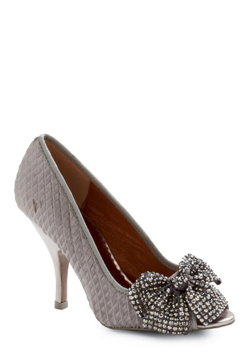Little Bow Peep Toe Heel in Pewter by Poetic License - Silver, Bows, Rhinestones, Solid, Formal, Wedding