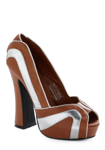 Footprint of the Future Heel - Brown, Silver, Party, 70s, Fall, Vintage Inspired