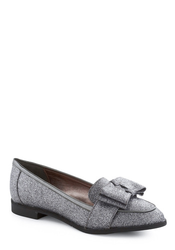 Sparkle in Your Step Flat by Dolce Vita - Silver, Solid, Bows, Party, Menswear Inspired, Fall, Winter