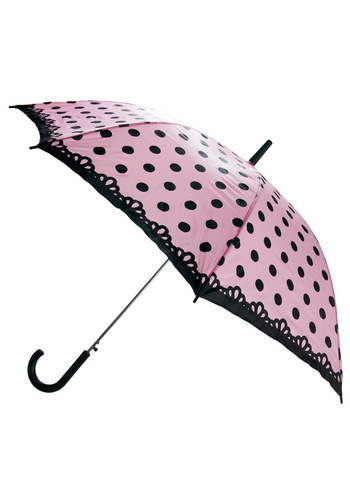 And Stay Out Umbrella - Pink, Black, Polka Dots, Work, Casual, Spring