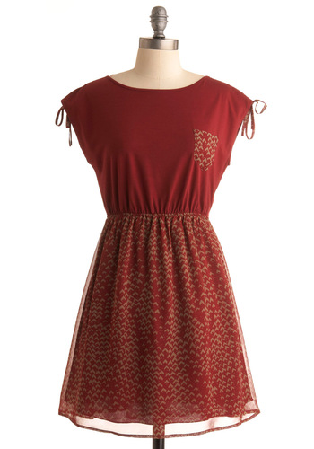 Put Your Mind at Crest Dress - Red, Print, A-line, Cap Sleeves, Tan / Cream, Pockets, Casual, Sleeveless, Fall, Short
