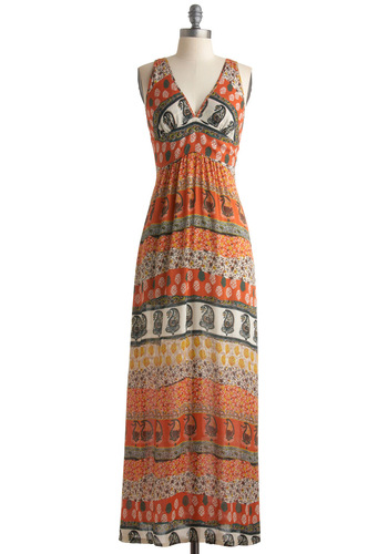 Company's Coming Dress - Orange, Multi, Floral, Maxi, Sleeveless, Yellow, Green, Paisley, Long, Black, White, Casual, Summer, Boho, Vintage Inspired, 70s, Print, Sheer, Beach/Resort, V Neck
