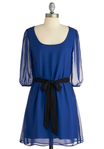 Out of the Sheer Blue Dress - Blue, Solid, Show On Featured Sale, Show On Featured Sale, Mid-length