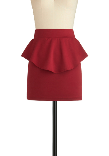 Eternal Flame of Love Skirt - Red, Solid, Ruffles, Party, 80s, Girls Night Out, Peplum, Mini, Short