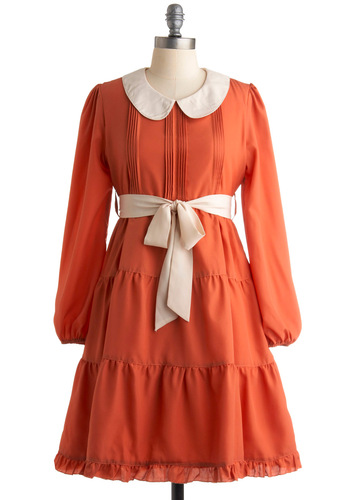 Pumpkin Chai Dress - Orange, White, Peter Pan Collar, Pleats, A-line, Long Sleeve, Party, Work, Vintage Inspired, Fall, Mid-length