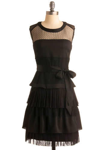 Cheer and Spirits Dress by Max and Cleo - Black, Solid, Pleats, Tiered, A-line, Sleeveless, Wedding, Party, Mid-length