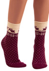 Nordic Trek Socks - Red, Purple, White, Print with Animals, Knitted, Casual, Fall, Winter