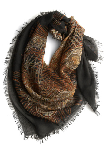 Wishful Plumage Scarf - Black, Gold, Animal Print, Party, Work, Casual, Fringed, Orange, Brown