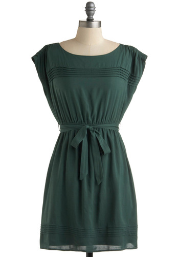 M Loves M Dress - Green, Solid, A-line, Cap Sleeves, Casual, Spring, Summer, Fall, Short