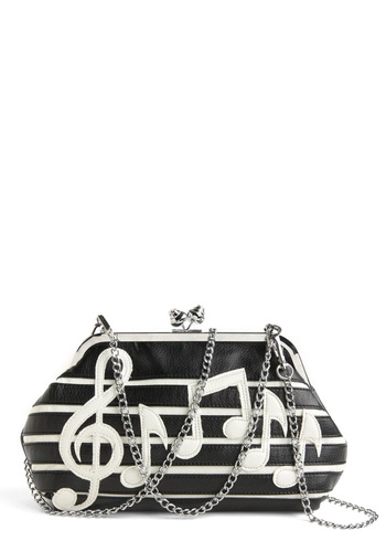Sweet Music Clutch - Black, White, Novelty Print