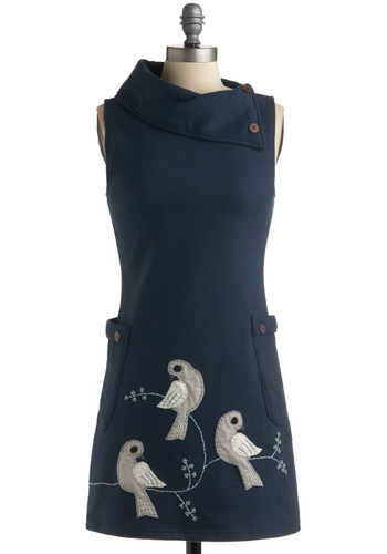 Midnight Bird Song Dress - Blue, Grey, White, Print with Animals, Shift, Sleeveless, Casual, 60s, Embroidery, Short, Eco-Friendly, Cotton, Folk Art