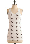 Faithful Companion Tank in Meow - White, Brown, Print with Animals, Tank top (2 thick straps), Casual, Spring, Summer, Mid-length, International Designer